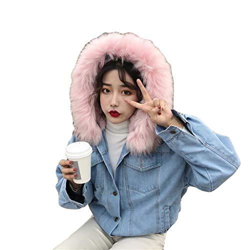 Auifor Vrouwen Warm Denim Korte jas kraag jas - dunne winter-met capuchon Outwear Coats