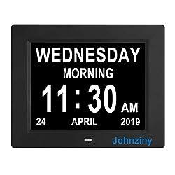 Johnziny Digital Calendar Day Clock- 8 Alarms Auto-Dim Battery Backup Extra Large Non-Abbreviated Dementia Clocks Alzheimer Memory Loss Vision Impaired Alarm Clock for Seniors Elderly
