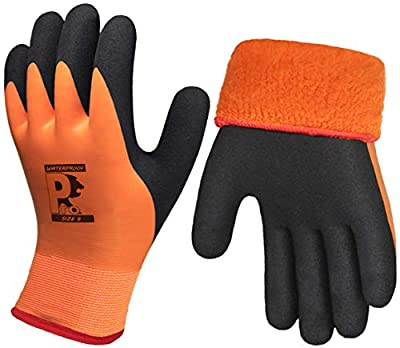 Pro Waterproof Winter Work Gloves, Superior Grip Coating Insulated Liner Thermal Warm for Cold Weather Garden Outdoor Snow Multi-Purpose