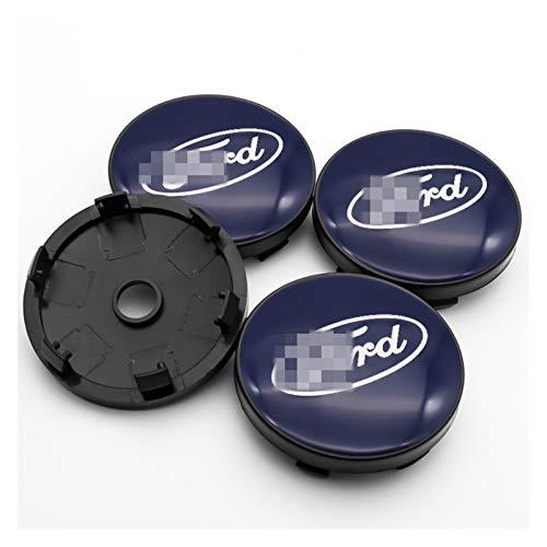 Tapas centrales para llantas Piezas de automóviles 4 PCS 60mm Coche de ruedas de automóvil Cordones y pegatinas Compatibles con Ford- Mustang Explorer Fiesta FOCUS KUGA FUSION F-150 Ornamental para Ta
