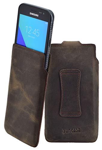Suncase Original Tasche kompatibel mit Samsung Galaxy Xcover 4s (SM-G398F) Leder Etui Handytasche Ledertasche Schutzhülle Hülle Hülle/in antik-braun