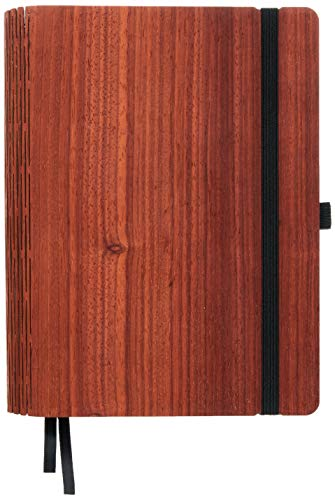 JUNGHOLZ WoodBook, Lehrerkalender 2019/2020 A5 aus Holz, wechselbarer Lehrerplaner, nachfüllbar - Padouk