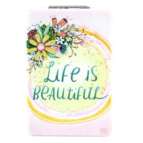 Allen Designs [Q1988] - Miroir de poche 'Allen Designs' rose multicolore (Life is Beautiful) - 8.5x5.5 cm