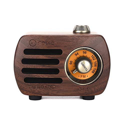Casinlog Vintage Retro Madera FM MP3 Transistor Radio recargable con altavoz, R818 (madera de nogal)
