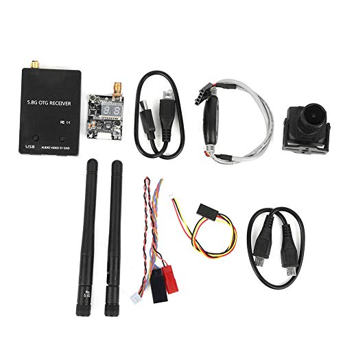 Video FPV Receiver, Camera and Transmitter, 5.8G 150CH OTG UVC Video Downlink for Smartphone, Full Channel FPV Receiver, FPV Audio Video Transmitter and Receiver for FPV (Black)