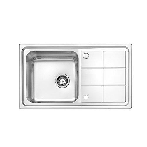 JASS FERRY Billant - Fregadero de cocina (acero inoxidable, con escurridor rectangular, 860 x 500 mm)
