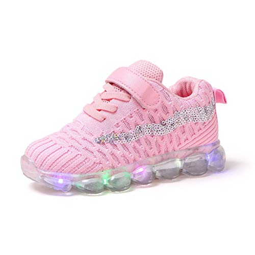 Sweet Trainers LED Breathable Running Sneakers for 1-6T Little Kids Toddler Baby Girls Light Up Sport Crib Shoes (Pink, 18-24 Months)