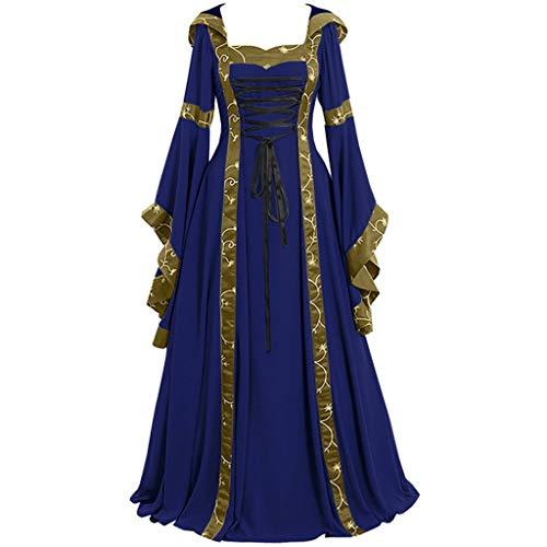 Women's Gothic Cosplay Dress Vintage Celtic Medieval Floor Length Renaissance Dress Blue