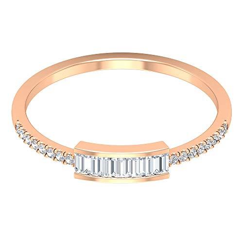 Rosec Jewels - 18 Karat Rotgold Baguetteschliff Runder Brilliantschliff Leicht Getöntes Weiß/Top Crystal (I) Diamant