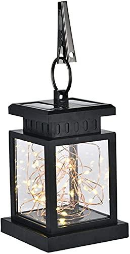 Waterdichte hangende zonnelantaarn met clip-on sterlicht en lichtsensor Buitenzonnelantaarn voor tuintuin Gazondekpad…
