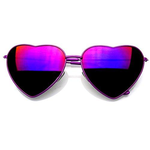 Emblem Eyewear Premium Mujer Lindo Marco Metal Corazón Forma De Gafas De Sol (Flash Espejo | Púrpura)