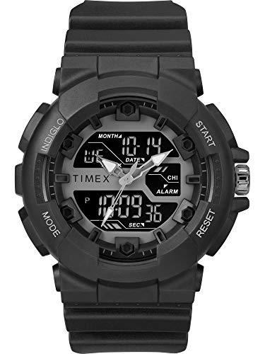 Timex Reloj deportivo para hombre TW5M22500 DGTL HQ de 50 mm negro/correa de resina negativa