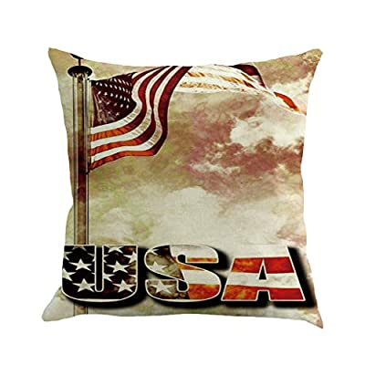 "RAINED-American Flag Pillow Cover for 4th July Independence Day Flag Day Star Stripe Square Throw Pillow Case 18""x18"""