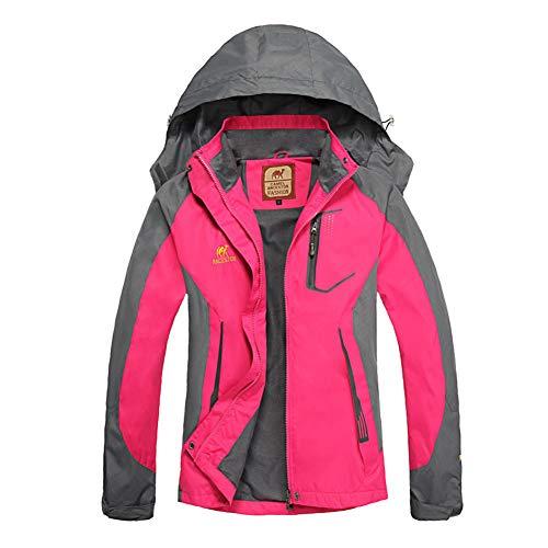 Ansemen Mujeres Chaqueta - Windproof Abrigo Impermeable Outdoor Trekking Alpinismo Rompevientos con Capucha Parka