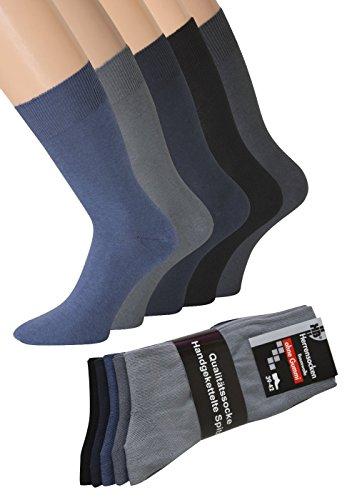 Herrensocken 43-46 Baumwolle ohne Gummibund gesundheits Socken ohne Gummidruck ohne Gummizug für Herren, 5 oder 10 Paar (43-46, 10 Paar blau/grau)