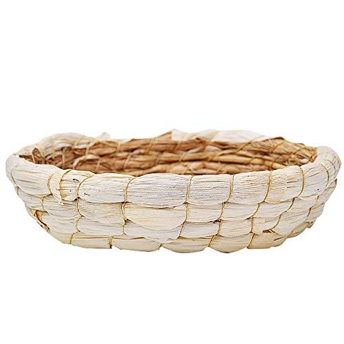 RUIYELE 1 alfombrilla redonda de hierba de conejito pequeño animal masticar juguete camas de paja, tapete de cama tejido natural para conejo, conejo, conejo, conejo, hámster rata