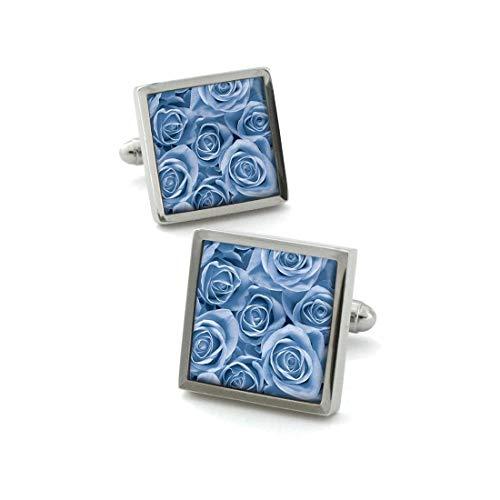 Robert Charles. Boutons de Manchette. Fleur de Rose, Acier rhodié. Bleu, Motifs.