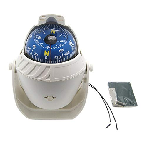 Sea Marine Compass, Lc760 Sea Marine Military Electronic Barco Barco Vehículo Coche Brújula Navegación Posicionamiento Luz Nocturna LED de Alta precisión (Blanco)