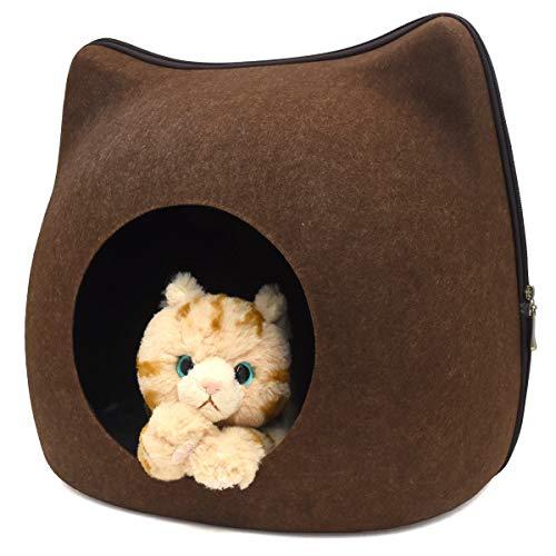 PLATA キャットハウス あったか 猫耳付き ドーム型 フェルトポッド オールシーズン対応 猫ベッド お昼寝 ベッド ドーム型 Cat House 中を覗ける 可愛い小窓付 【 ブラウン 】