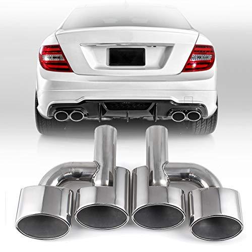 SXGKYY Auspuff TIPP Endrohr-Auto-Auspuff-Rohr-Stick Oval Endrohr Hinten Zwei Fit for Mercedes Benz C W204 W207 W212 W221 2001-2016