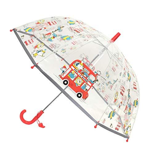 SMATI Kinder-Regenschirm transparent Glocke – Rand fluoreszierend, Bus Tiere (Transparent) - BUL8444