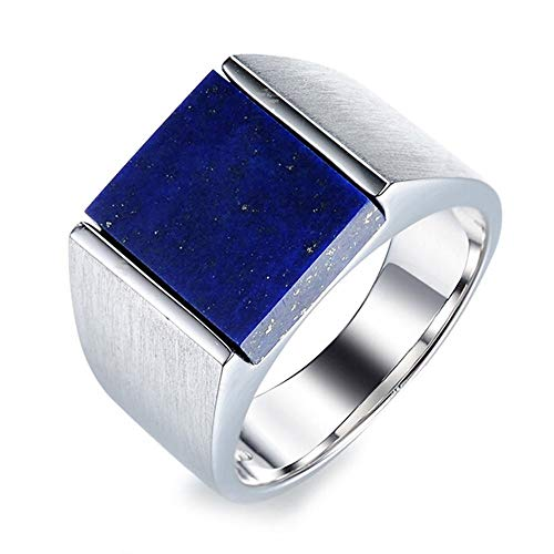 necklace Ladies fashion Afghan natural lapis lazuli stones Bee solid white 925 sterling silver engagement rings fashion suit married Promise, Ring size: J- Hoisting (Size : 56 * 17.75mm)