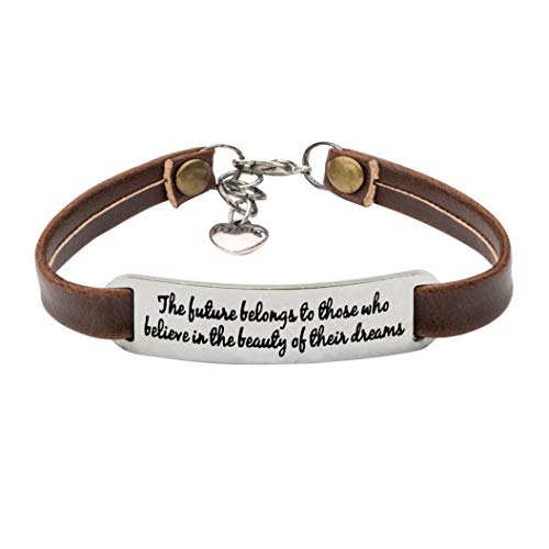 UNQJRY Inspirational Gifts for Women Feminist Bracelet Personalized Leather Jewelry