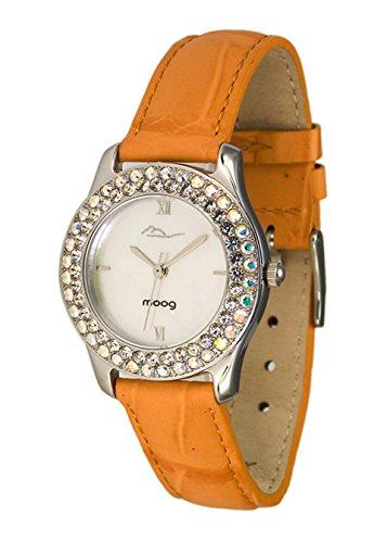 Moog Paris Glamour Reloj para Mujer con Esfera Nácar Blanca, Correa Naranja de Piel Genuina y Cristales Swarovski - M44172-002