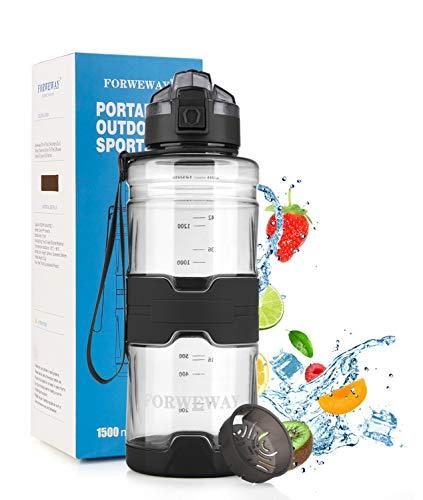 FORWEWAY Trinkflasche Sport 1,5 Liter BPA-Frei Wasserflasche Auslaufsicher Outdoor Tritan Kohlensäure Geeignet Sportflasche mit Filter Für Kinder Schule Gym Fitness Fahrrad Büro (Schwarz)