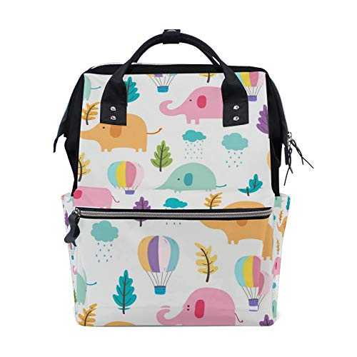 JinDoDo Backpack Colored Cartoon Elephant Leaves Children Student Bag Couple Backpack Mommy Bag Computer Bag Travel Bag