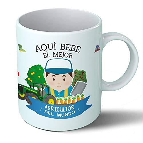 Planetacase Taza Desayuno Aquí Bebe el Mejor Agricultor del Mundo Regalo Original Agricultores Ceramica 330 mL
