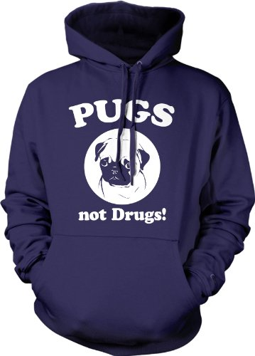 Crazy Dog Tshirts - Pugs Not Drugs Sweater Pug Face Funny Shirts Dogs Humor Novelty Hoodie (Navy) - XL - Homme