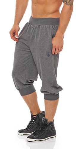 Gennadi Hoppe Herren 3/4 Trainingshose Jogginghose Bermuda Pant (4XL, grau)