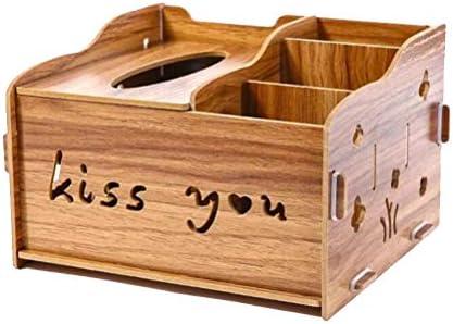 Wooden Tissue Box Multipurpose Remote Control Holder Pen Container Sundries Desktop Organizer for Living Room Bedroom