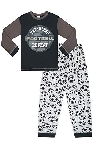 Pijama Largo para niños con Texto en inglés Eat Sleep Football Repeat, Color Gris
