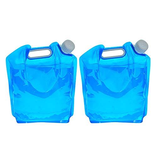 Lot de 2 grands récipients à eau pliables de 5 litres, congélateur, qualité alimentaire, sac de transport d'eau pliable pour voiture, pour camping, randonnée, pique-nique, barbecue
