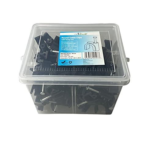 Clips de cable redondos negros K-Type Caja comercial, 16 mm - 130 piezas