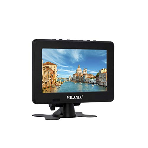 """Milanix Upgraded 7"""" Portable Widescreen LCD TV with Two Way Stand, Detachable Antenna, USB/SD Card Slot, Built in Digital Tuner, FM, and AV Inputs"""