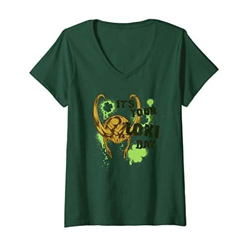 Donna Marvel It's Your Loki Day St. Patrick's Day Maglietta con Collo a V