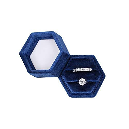 Hexagon Velvet Double Slots Ring Heirlooms Box Engagement Ring Box (Navy)