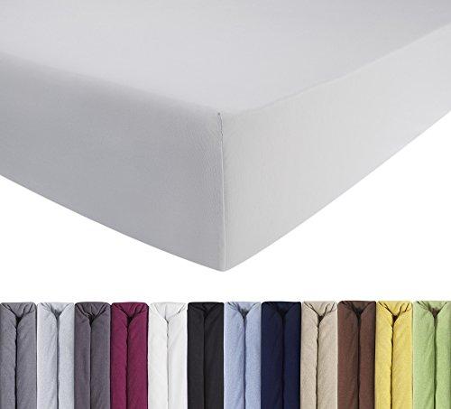 ENTSPANNO Jersey Spannbettlaken für Wasser- und Boxspringbett in Weiß aus gekämmter Baumwolle. Spannbetttuch mit Einlaufschutz, 180 x 200 | 200 x 200 | 200 x 220 cm, bis 40 cm hohe Matratzen