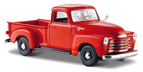 Maisto Chevrolet 3100 Pickup '50: getrouw modelauto 1:24, deuren en motorkap te openen, klaar model, 20 cm, rood-oranje (531952)