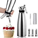 Professional Whipped Cream Dispenser Whipper Aluminum Leak-Free Reinforced Threads for Durability and Safety - 500ml - 1 Pint Includes 3 Culinary Decorating Nozzles - N2O Chargers Not Included