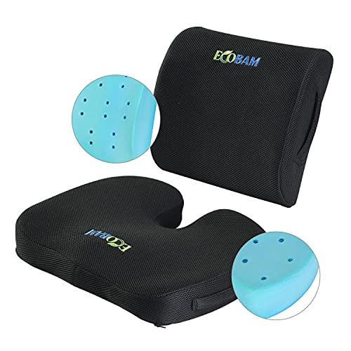 Ecobam Sitz- und Lendenwirbelstützenkissen, Gel-Füllung, Memory-Schaum, waschbare Bezüge und orthopädisches Design für Zuhause, Büro, Rollstuhl, Auto