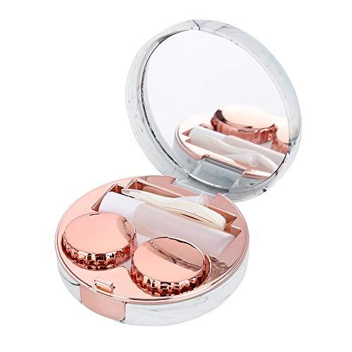 Kontaktlinsenbehälter mit Spiegel, Kontaktlinsen Soaking Case Portable, Kontaktlinsendose Geeignet für Reisen Kunststoff Marmor Muster Augenpflege Kit Container(03)
