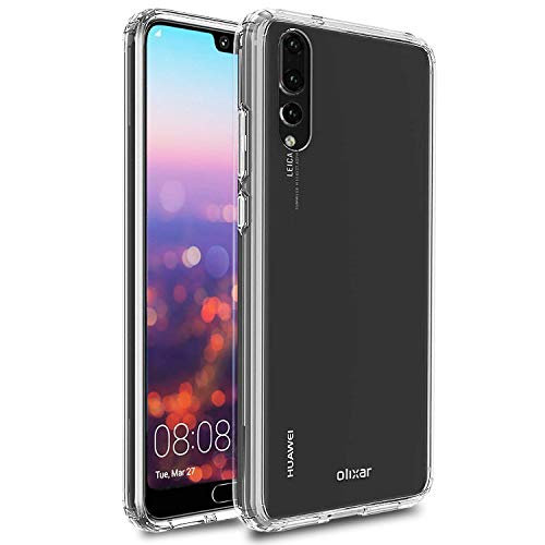 Olixar for Huawei P20 Pro Bumper Case - Hard Tough Cover - Crystal Clear Back - Wireless Charging Compatible - ExoShield - Shock Protection - Clear