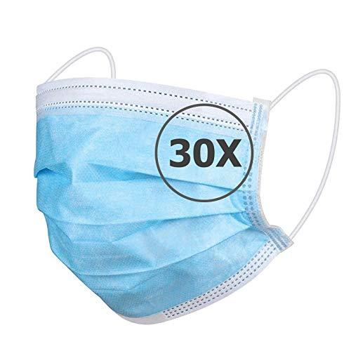 TBOC Maschera Igienica Monouso - [Pack 30 Unità] Mascherina [Blu] in Polipropilene a 3 Strati Leggera e Morbida Traspirante con Clip per Naso Protezione Facciale Alta Filtrazione Non Riutilizzabile
