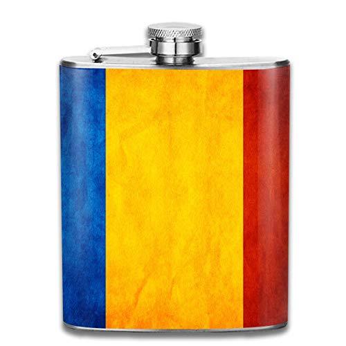 Vintage idioma rumano magnífica bandera moda portátil 304 acero inoxidable a prueba de fugas alcohol licor vino 7 oz olla petaca viaje