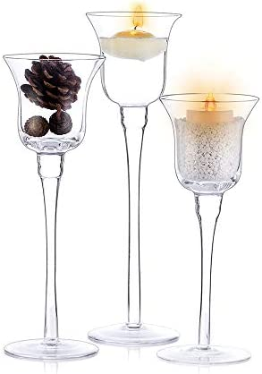 Nuptio 3 Pcs Candlestick Tealight Candle Holders Tall Elegant Glass Stylish Design Ideal for product image