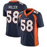 # 58 Denver Broncos Von Miller Maillot de Football américain, Uniforme de Rugby personnalisé Rugby Shirt Retro Jersey Mens Mesh Jersey T-Shirt-Blue-S(170~175CM)
